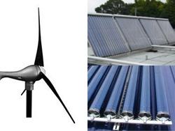 風力発電と真空式太陽熱温水気